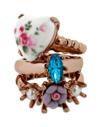 Betsey Johnson | Pink Floral Printed Heart Ring Set | Lyst