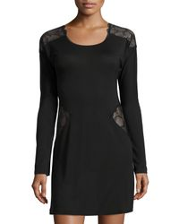 La Perla | Black Iris Lace-panel Sleepshirt | Lyst
