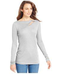 DKNY | Gray Keyhole-cutout Long-sleeve Top | Lyst
