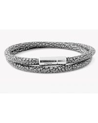 Tateossian | Double Wrap Scoubidou Grey Stingray Bracelet With Silver Clasp for Men | Lyst