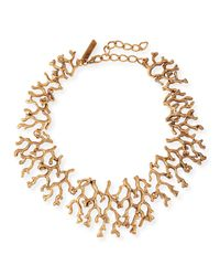 Oscar de la Renta | Metallic Golden Coral Branch Necklace | Lyst