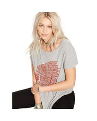 Denim & Supply Ralph Lauren - Gray Draped Cotton Graphic Tee - Lyst