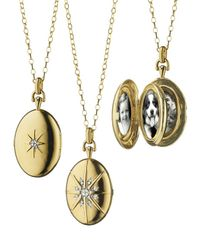 Monica Rich Kosann - Metallic 18k Gold Diamond Star Locket Necklace - Lyst
