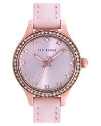 Ted Baker - Pink Crystal Bezel Leather Strap Watch - Lyst