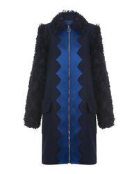 House of Holland - Blue Wool A- Line Coat - Lyst