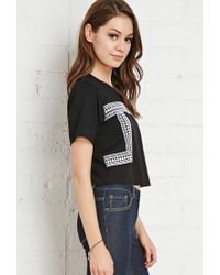 Forever 21 | Black Abstract Embroidered Tee | Lyst