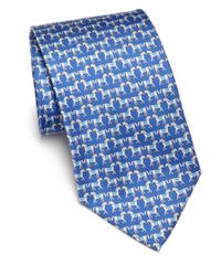 Ferragamo | Blue Horse Silk Tie for Men | Lyst