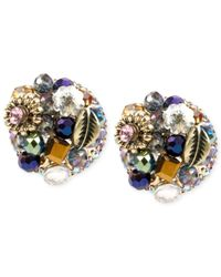 Betsey Johnson | Metallic Confetti Hematite-tone Pave Heart Stud Earrings | Lyst