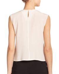 Etro | White Ruffled & Pleated Silk Top | Lyst