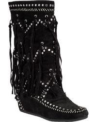 Ash - Shilo Black Suede Fringe Boot - Lyst