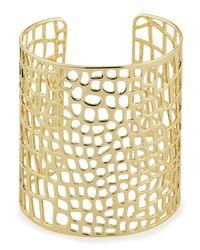 Lydell NYC | Metallic Golden Laser-Cut Cuff Bracelet | Lyst