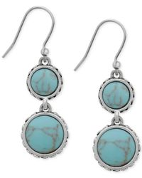 Lucky Brand | Blue Silver-tone Reconstituted Turquoise Double Drop Earrings | Lyst