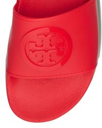Tory Burch - Red Logo Rubber Slides - Lyst