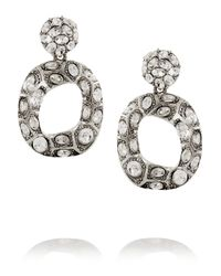 Oscar de la Renta | Metallic Silver-Plated Crystal Earrings | Lyst