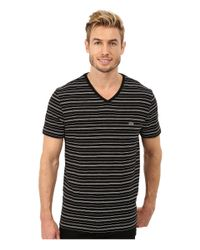 Lacoste | Black Short Sleeve Fine Stripe V-neck Tee Shirt for Men | Lyst