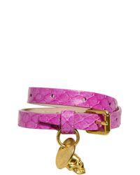 Alexander McQueen | Purple Skull Charm Water Snake Bracelet | Lyst