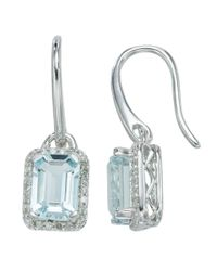 Lord & Taylor | Blue 14kt. White Gold Diamond And Aqua Earrings | Lyst