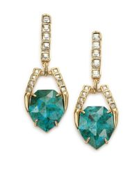 Alexis Bittar | Metallic Miss Havisham Mosaic Chrysocolla & Crystal Geometric Drop Earrings | Lyst