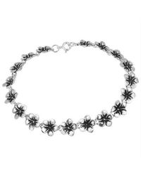 Aeravida | Metallic Adorable Plumeria Flower Link .925 Silver Bracelet | Lyst