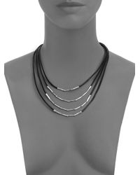 John Hardy | Bamboo Sterling Silver & Black Cord Four-row Necklace | Lyst