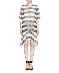 Chloé   Gray 'robe' Lace Overlay Dress   Lyst