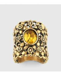 Gucci | Metallic Ring With Swarovski Crystal | Lyst