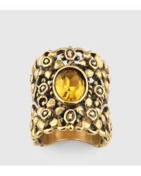 Gucci - Metallic Ring With Swarovski Crystal - Lyst
