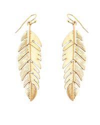 Kenneth Jay Lane - Metallic Feather Drop Earrings - Lyst