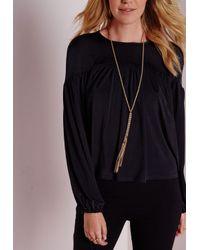 Missguided | Metallic Longline Tassel Necklace | Lyst