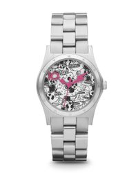 Marc By Marc Jacobs - Metallic Henry Stainless Steel Skull Watch Winterchangeable Leather Strap - Lyst