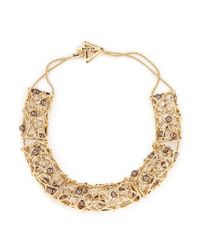 St. John - Metallic 'cage' Pearl Station Necklace - Lyst