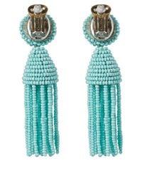 Oscar de la Renta - Blue Short Beaded Tassel Earrings - Lyst