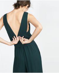 Zara | Green Fancy Cropped Jumpsuit | Lyst
