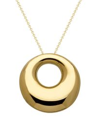 Lord & Taylor | Metallic 14kt. Yellow Gold Puffed Circle Pendant Necklace | Lyst