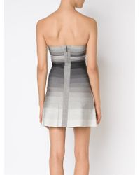 Hervé Léger | Gray Strapless Dress | Lyst