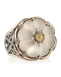 Konstantino | Metallic Round Flower Carved Frosted Crystal Ring Size 7 | Lyst