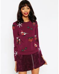 ASOS | Purple Christmas Jumper With Christmas Embellishment | Lyst