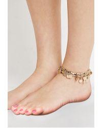 Forever 21 - Metallic Coin Fringe Ankle Bracelet - Lyst