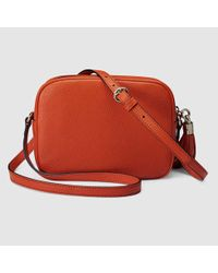 b4e96c368e72 Lyst - Gucci Soho Leather Disco Bag in Orange