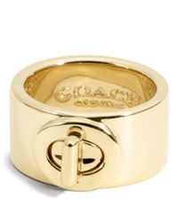 COACH | Metallic Turnlock Ring | Lyst