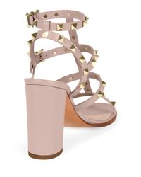 Valentino - Pink Rockstud Leather Sandals - Lyst