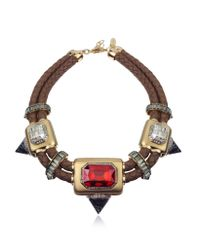 Roberto Cavalli - Red Africa Stone and Woven Leather Chocker - Lyst