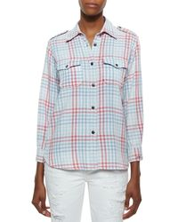 Current/Elliott - Blue The Perfect Plaid Cotton Shirt - Lyst