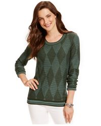 Tommy Hilfiger | Green Argyle Sweater | Lyst