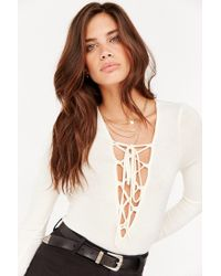 Project Social T | White Plunge Lace-up Top | Lyst