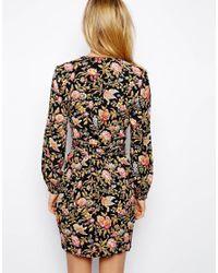 ASOS | Black Wrap Tulip Dress In Pretty Floral Print | Lyst