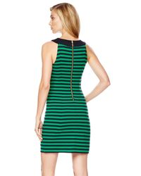 Michael Kors - Green Turnlock Striped Ponte Dress - Lyst