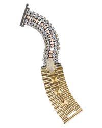 Iosselliani - Metallic Brass Crystal and Leopard Skull Bracelet - Lyst