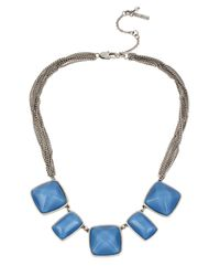 Kenneth Cole | Blue Geometric And Mesh Statement Necklace for Men | Lyst
