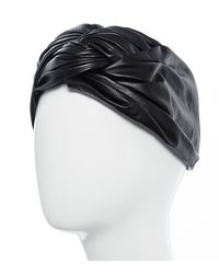 Colette Malouf | Black Gathered Leather Turban | Lyst